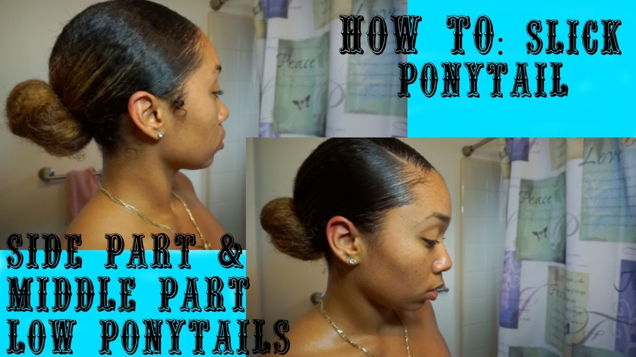 How To Slick Ponytails Side Middle Part On Wet Curly Hair