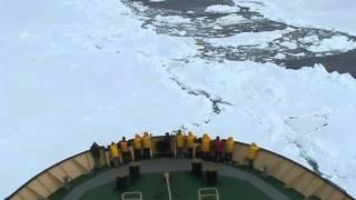Antarctica 2010-Icebreaker Khelbnikov full speed second attempt cutting the pack ice