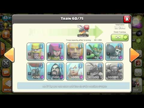 The best troop selection ever in 200 army camp clash of clans