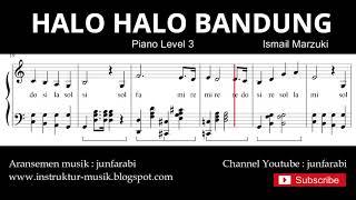 Gambar cover halo halo bandung not balok piano level 3 - lagu wajib nasional
