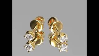 Серьги пусеты - гвоздики из золота с камнями.