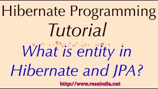 What is entity in Hibernate and JPA?