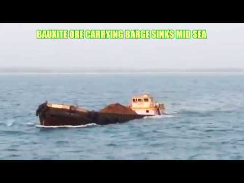 Sinking Barge carrying Bauxite Ore - Alibag