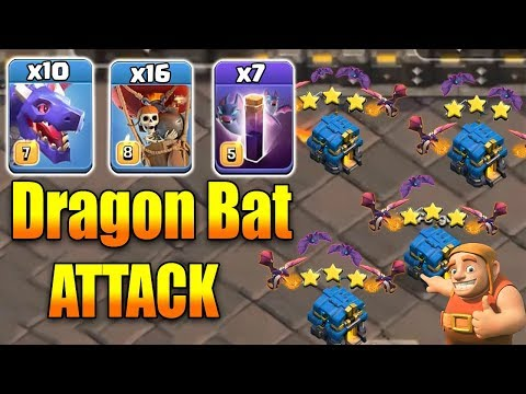 Th12 Attack Strategy! 7 Bat Spell 10 Red Dragon 16 Balloon Best 3star War Attack | Clash Of Clans