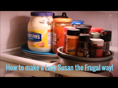 DIY Rotating Lazy Susan the Frugal Way~ On the Cheap! Organization Tip