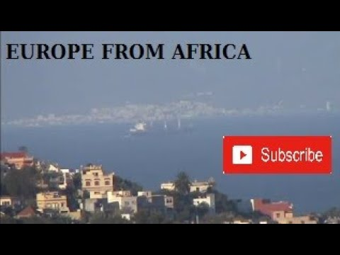 The earth is flat ? Strait of Gibraltar, view from Tangier morocco to spain, Tariffa, thumbnail