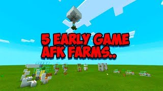 """Minecraft Bedrock - Top 5 Early Game AFK Farms You Must Have! """"Ps4,Pc,Xbox,Switch,MCPE"""""""