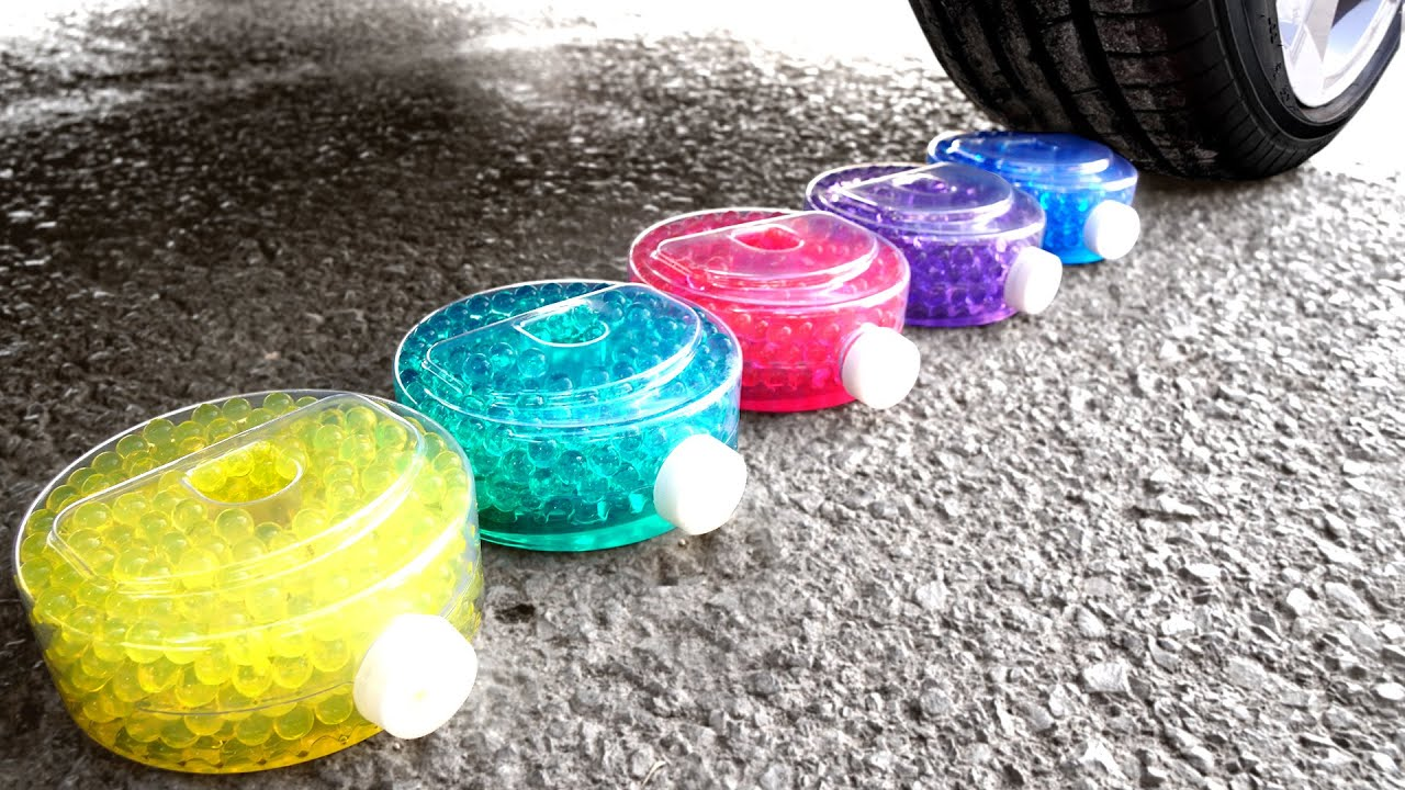 Crushing Crunchy & Soft Things by Car! EXPERIMENT: Car vs M&M'S, Candy toys Mirinda Orbeez