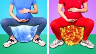 HOT PREGNANT VS COLD PREGNANT! Red Vs Blue Challenges & Funny Situations by Crafty Panda