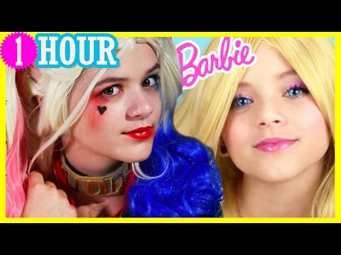 1 HOUR of MAKEUP! Harley Quinn Barbie Doll, & More Makeup Tutorials for Girls! Cosplay | Kittiesmama