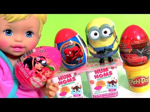 Disney Frozen Anna Elsa Unboxing Strawberry Shortcake Surprise Eggs Num Noms Play-Doh