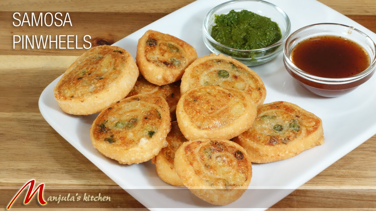 samosa pinwheels - indian gourmet appetizer recipemanjula