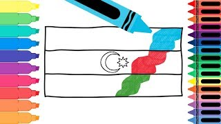 How to Draw Azerbaijan Flag - Drawing the Azerbaijani Flag - Coloring Pages 4 Kids | Tanimated Toys