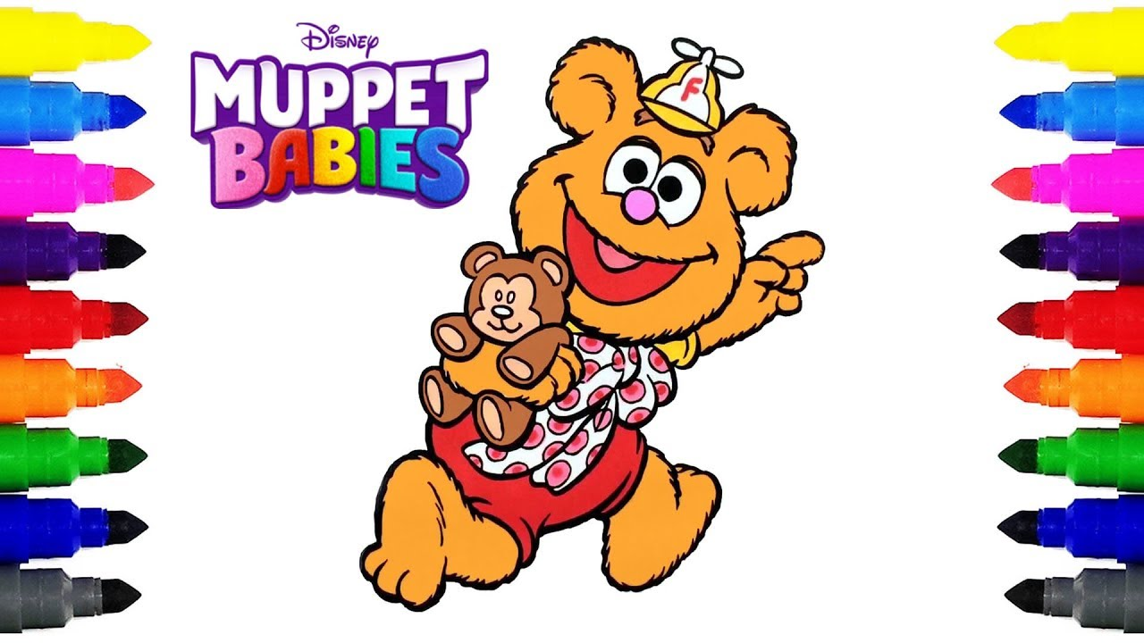 Muppet Babies Fozzie Disney Junior Coloring Pages for Kids