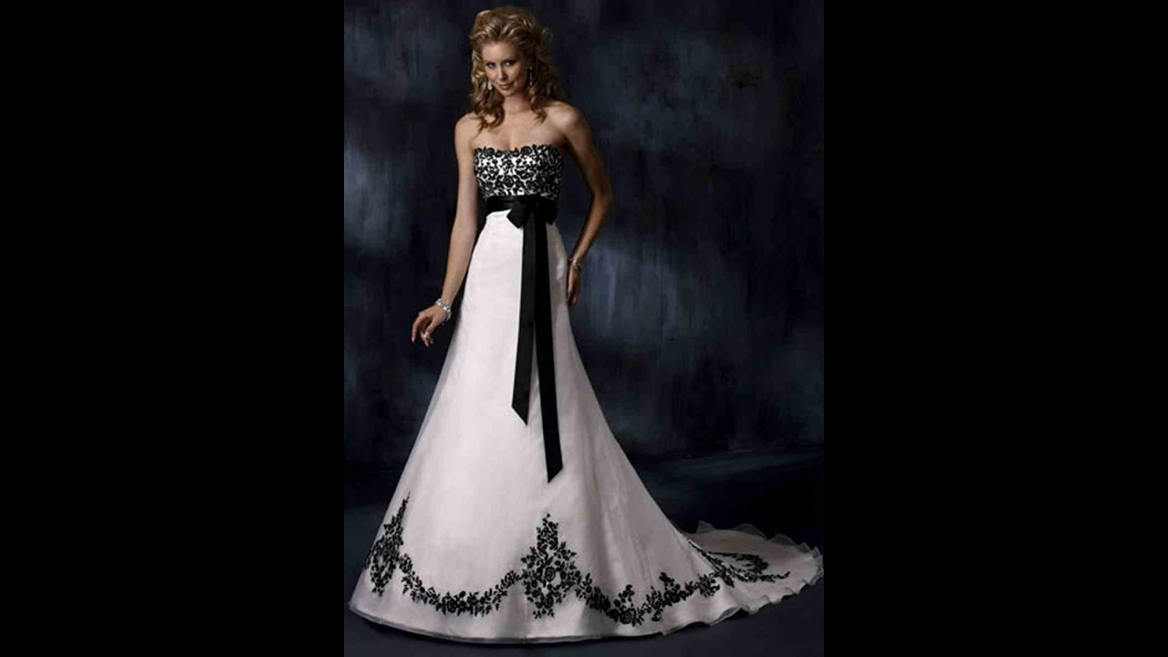 Wedding Gowns For Black and White Wedding Dresses - YouTube