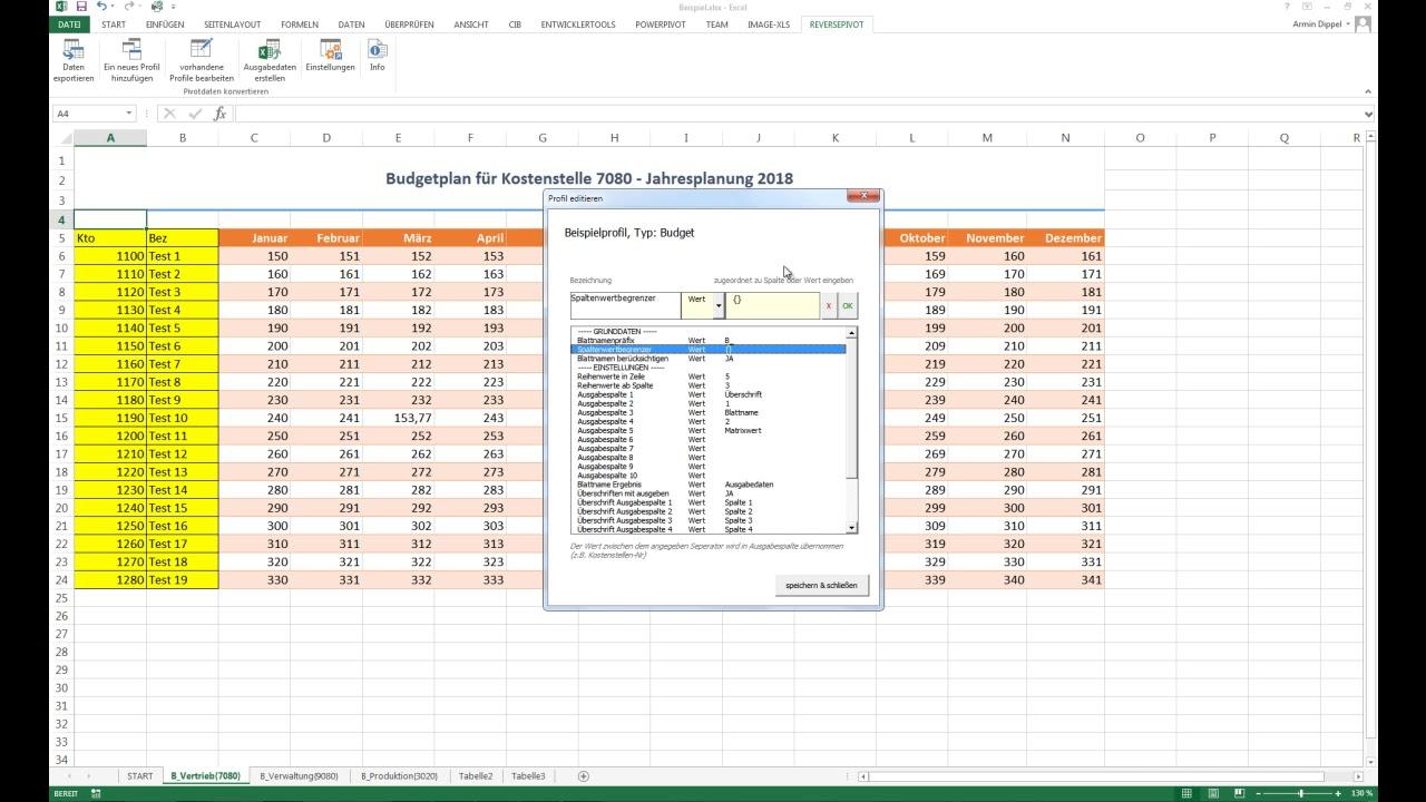 Excel Reverse Pivot - Pivot Tabellen in Datensätze überführen, z.B. ...