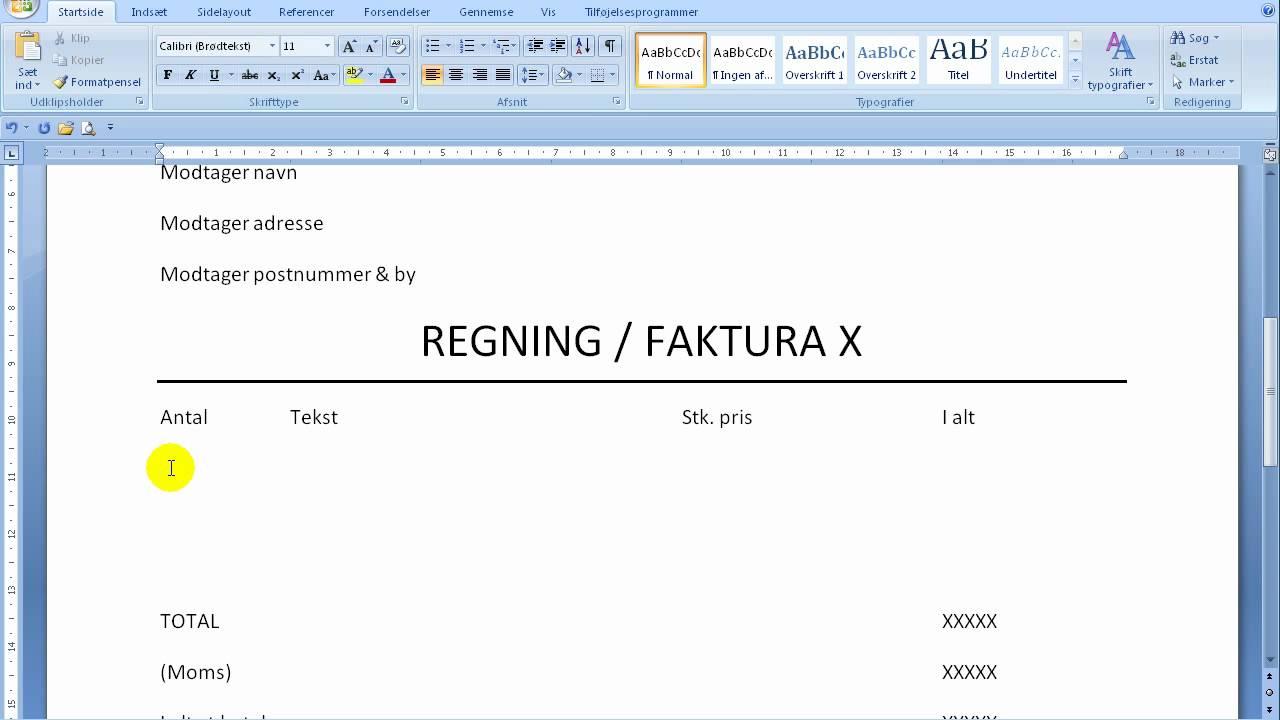 hur skriver man en faktura