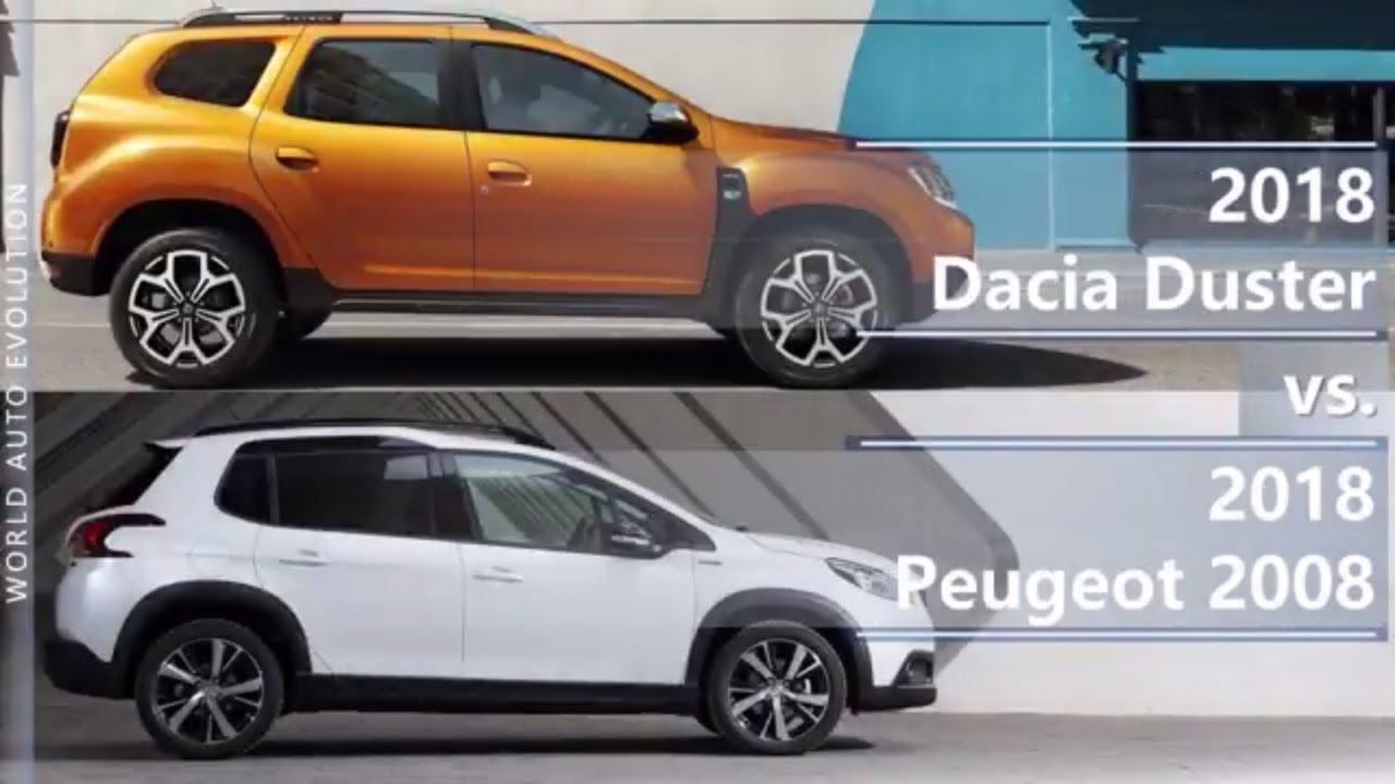 2018 dacia duster vs 2018 peugeot 2008 (technical comparison) - youtube