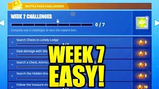 FORTNITE WEEK 7 CHALLENGES EASY GUIDE! LEAKED WEEK 7 CHALLENGES SEASON 4 BATTLE PASS!