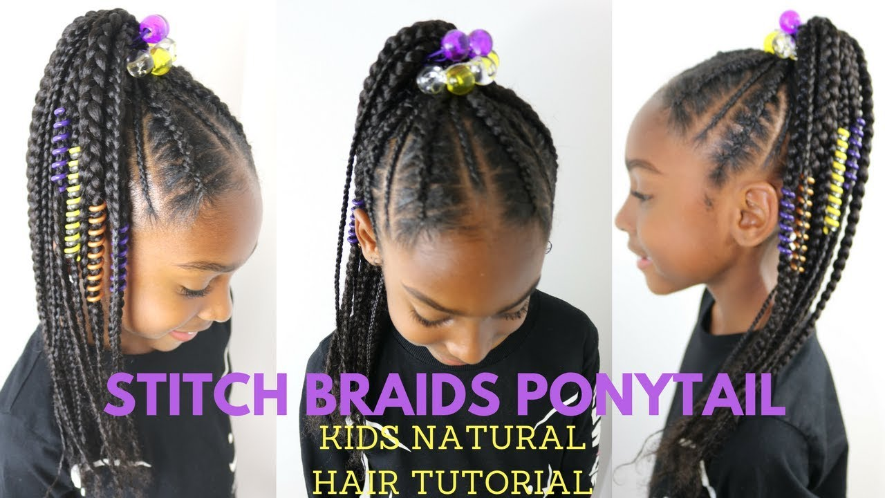 stitch braids ponytail on kids natural hair ( no extensions)