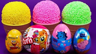 Learn Color Surprise Egg in Ice Cream Cup | The Animals Noodle Competition