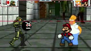 mario MUGEN: Microsoft Sam & Master Chief vs Super Mario & Homer Simpson