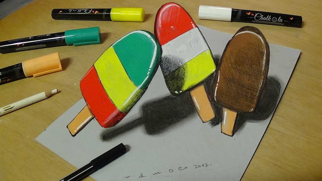 Drawing And Coloring For Kids How To Draw Ice Cream 3D Trick Art For Kids