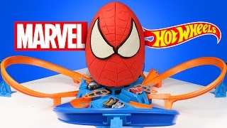 spiderman superhero kinder play doh surprise egg with marvel hot wheels cars race track   kidcity