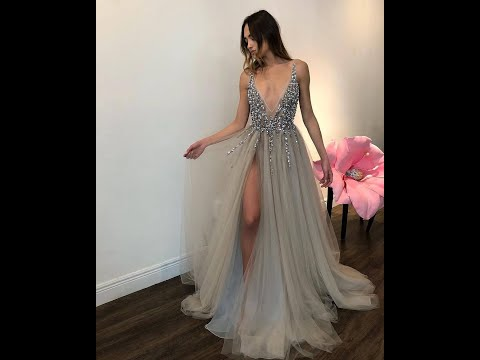 sexy-deep-v-neck-long-silver-tulle-beaded-prom-dress-2020