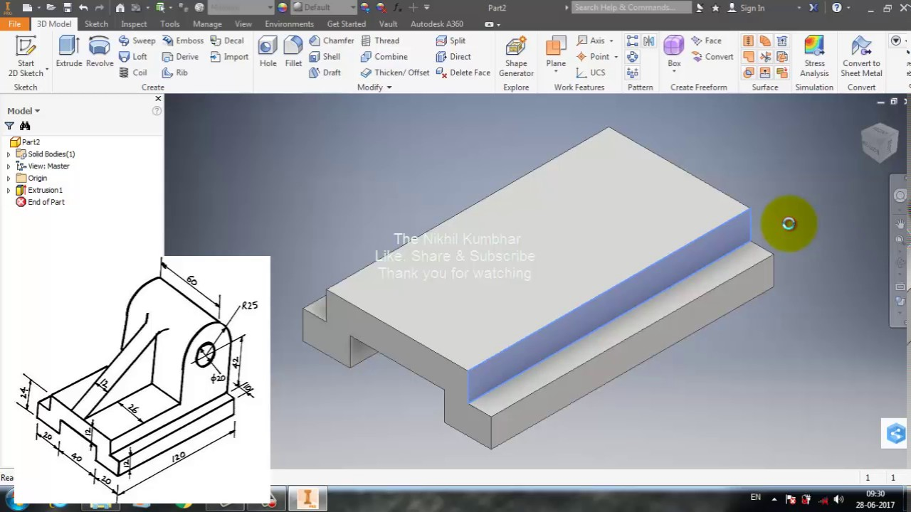Part 11 - Autodesk Inventor 2017 Tutorial - Creating Isometric ...