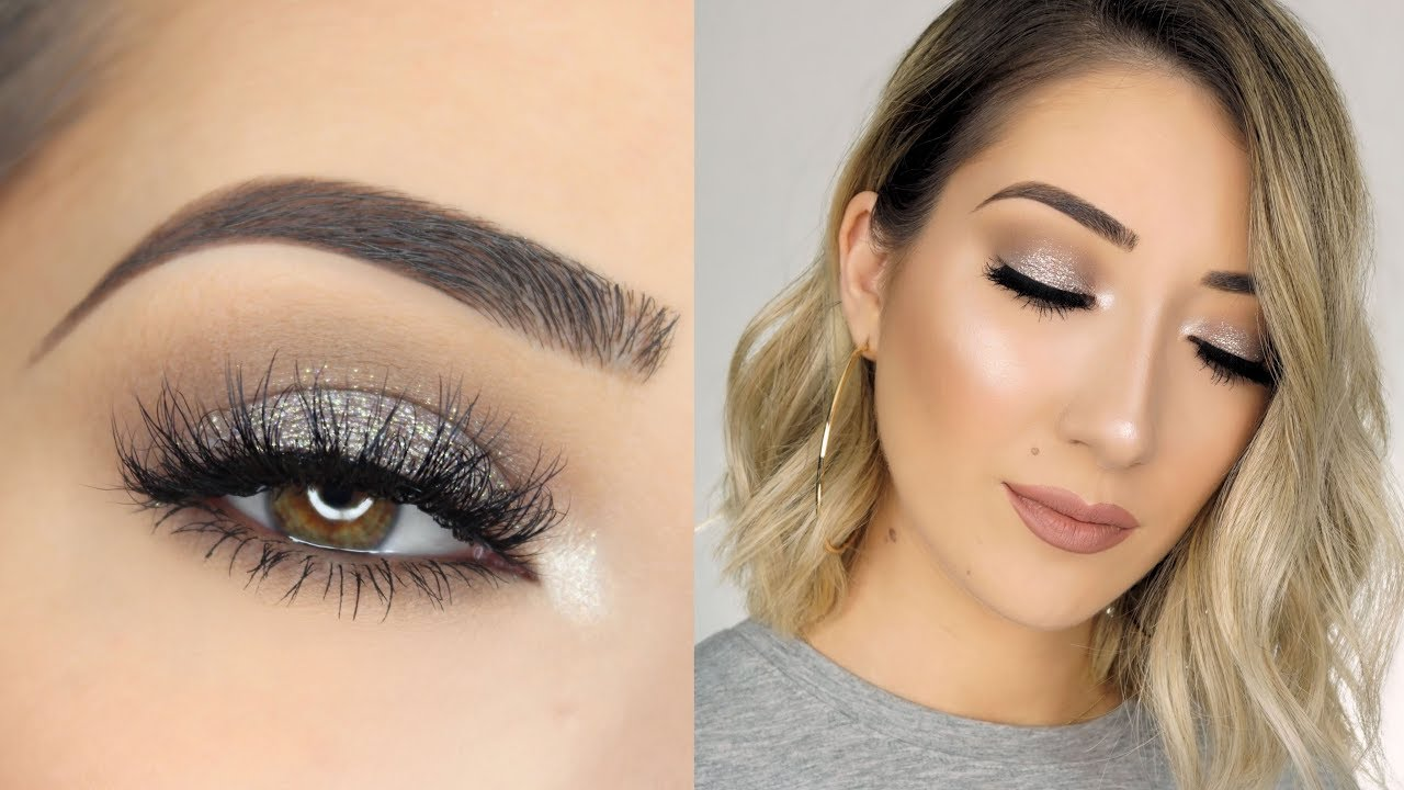 Soft Sparkly Silver Smokey Eye Makeup