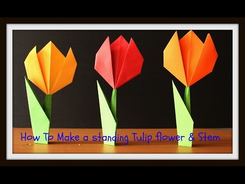 DIY: #HowTo# make a Standing #ORIGAMI# Paper Tulip Flower with Stem