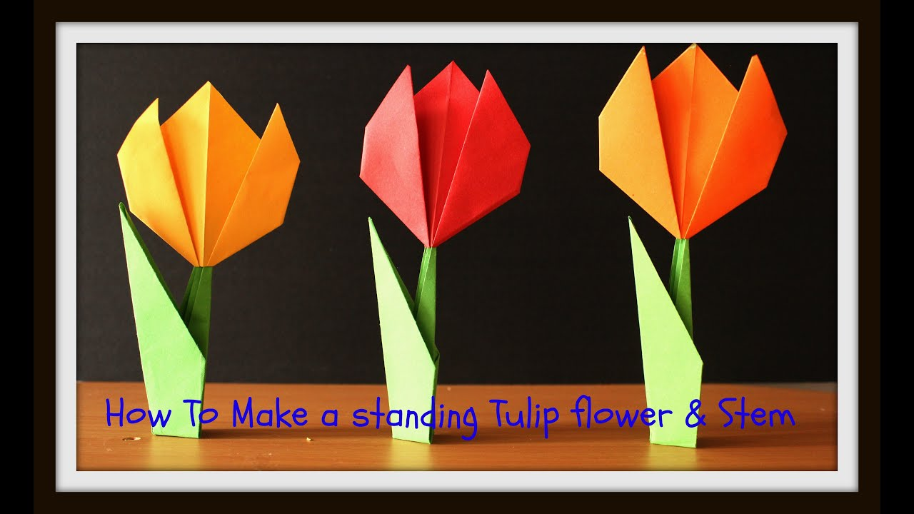 Diy howto make a standing origami paper tulip flower with diy howto make a standing origami paper tulip flower with stem dhlflorist Image collections