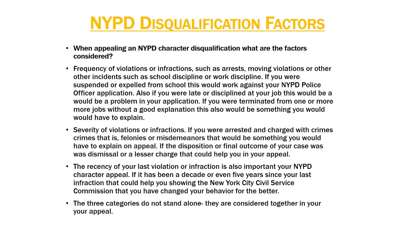 NYPD CHARACTER DISQUALIFICATION