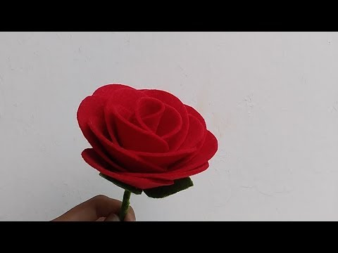DIY How to Make Felt Rose Flowers | Cara membuat bunga mawar dari kain flanel