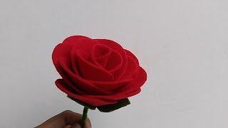 DIY How to Make Felt Rose Flowers   Cara membuat bunga mawar dari kain flanel