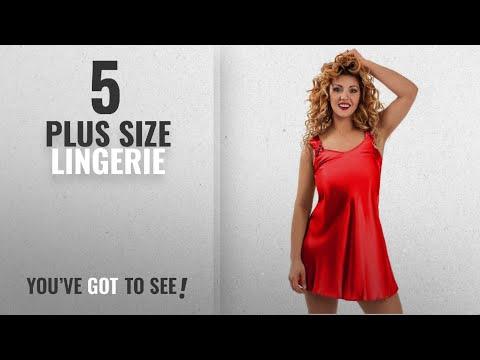 Nine X Plus Size Lingerie [2018]: Nine X-Sexy Satin Babydoll Plus Size Lingerie, Chemise , S-6XL Red