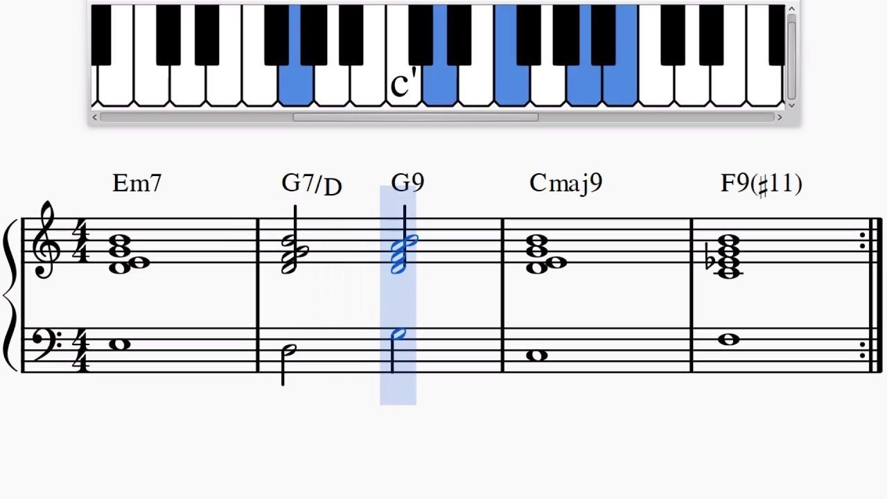 Jazz Piano Mellow Chord Progression Em7 G7 D G9 Cmaj9 F9 11 Youtube