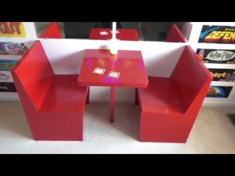 RESTAURANT BOOTH Custom Build 2 Seat Game Room Arcade Table Woodworking