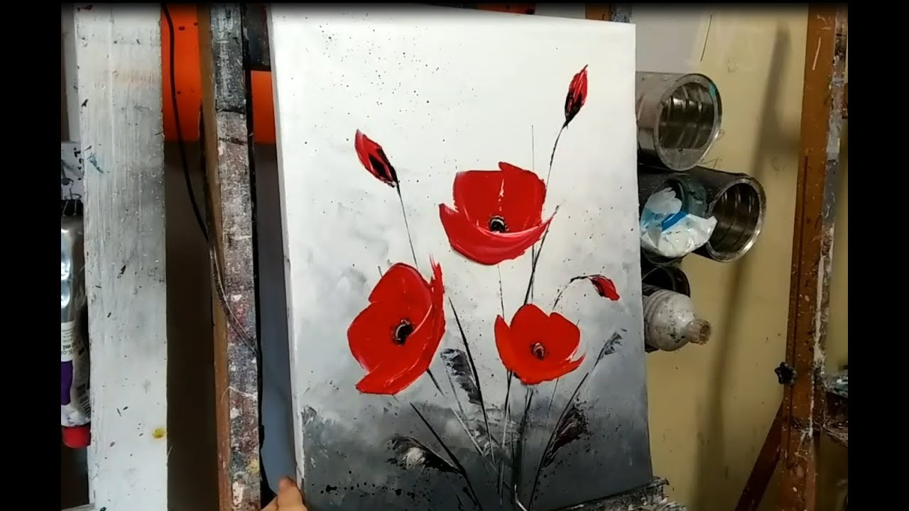 Peinture Au Couteau Les Coquelicots Knife Painting Poppies English Subtitles Youtube