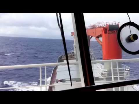 Ship in Heavy Rolling at South Atlantic Ocean 06 2014