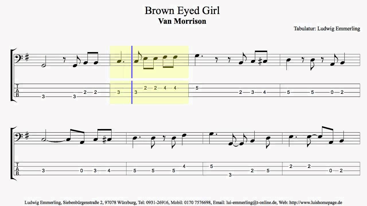 Van Morrison Brown Eyed Girl Bass Lesson Part 1 Youtube