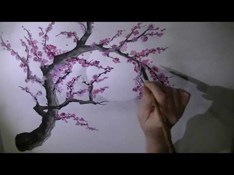 Chinese plum blossom brush painting