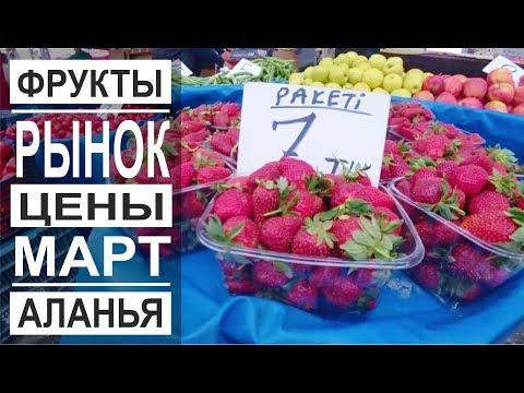 Турция: Цены на рынке. Клубника и киви. Фрукты и овощи. Погода в марте.