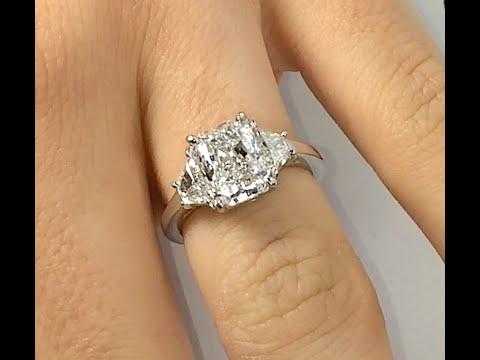 2 70 Ct Radiant Cut Diamond 3 Stone Engagement Ring Youtube