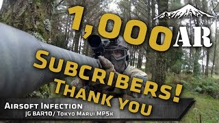 airsoft sniper infected zombie game and 1000 subcribers thank you jg bar10 tm mp5k