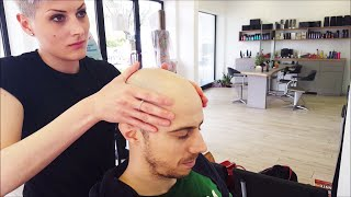 Barber Girl - Complete Head shave  - ASMR sounds