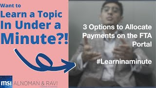 How to allocate payṁents in the FTA online portal? Learn under a minute | 3 Options | VAT | UAE Tax