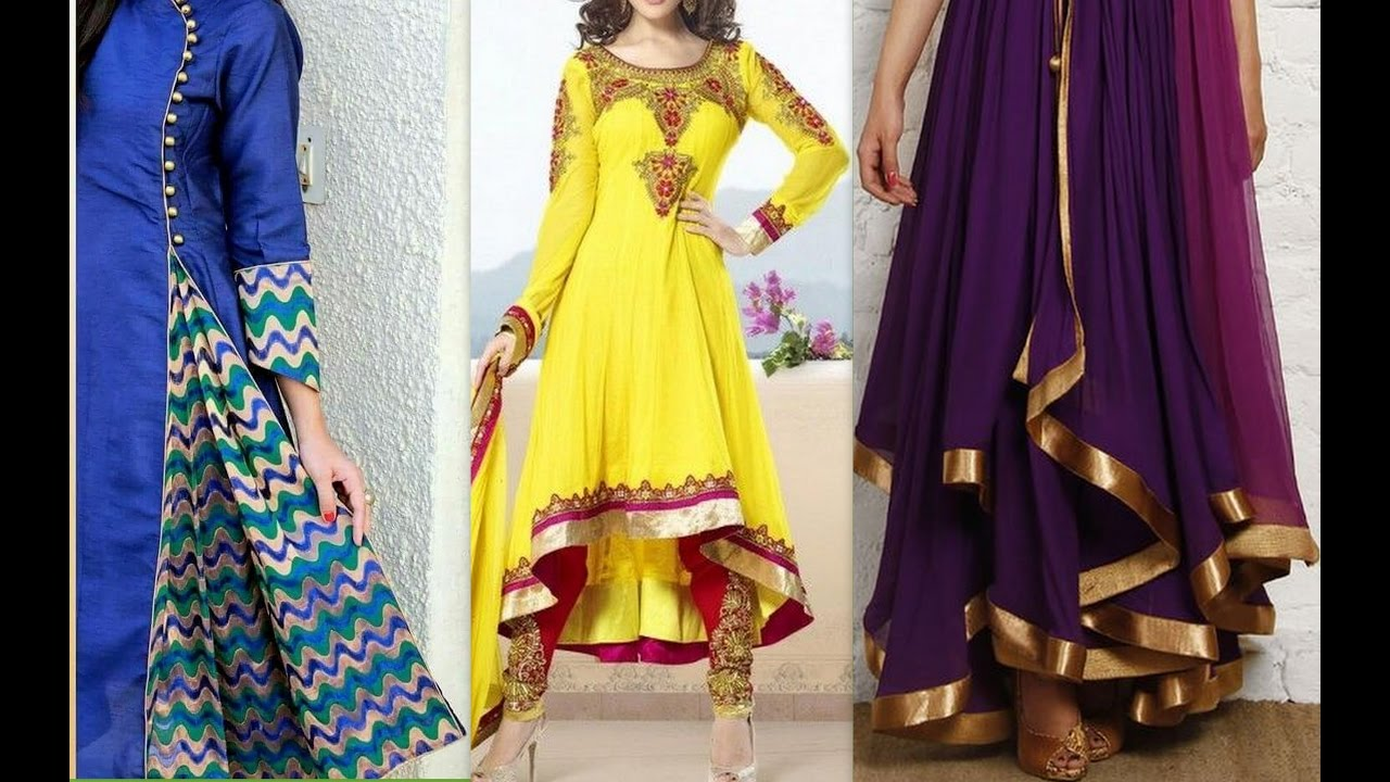 How to make latest anarkali front pleated high low dress cutting   stitching 85ddc49a8