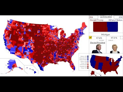 [4K HD] 2016 American Presidential Election Results Map : State by State